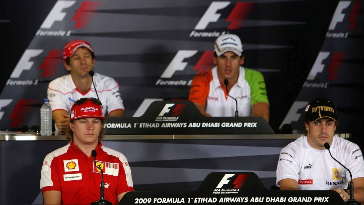 Kimi Raikkonen (FIN), Räikkönen, Scuderia Ferrari, Jarno Trulli (ITA), Toyota Racing, Adrian Sutil (GER), Force India F1 Team, Fernando Alonso (ESP), Renault F1 Team - Formula 1 World Championship, Rd 17, Abu Dhabi Grand Prix, Thursday Press Conference