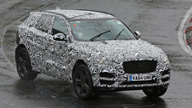 Jaguar F-Pace spied stretching out on a rainy day