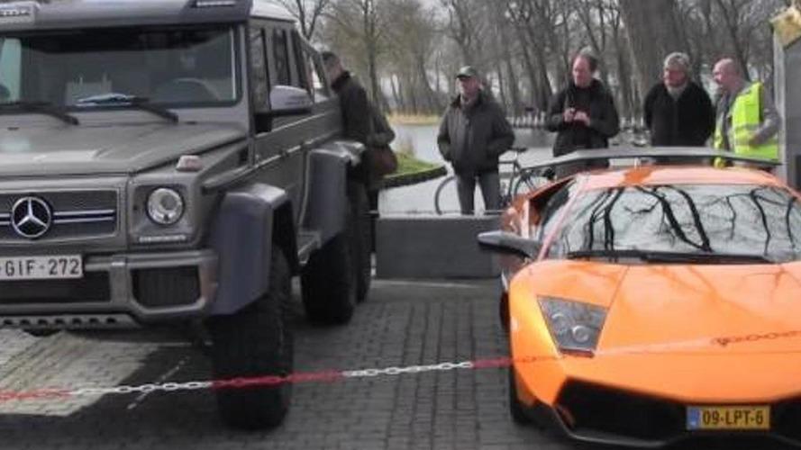 Size comparison: Lamborghini Murcielago SV vs Mercedes-Benz G63 AMG 6x6 [video]