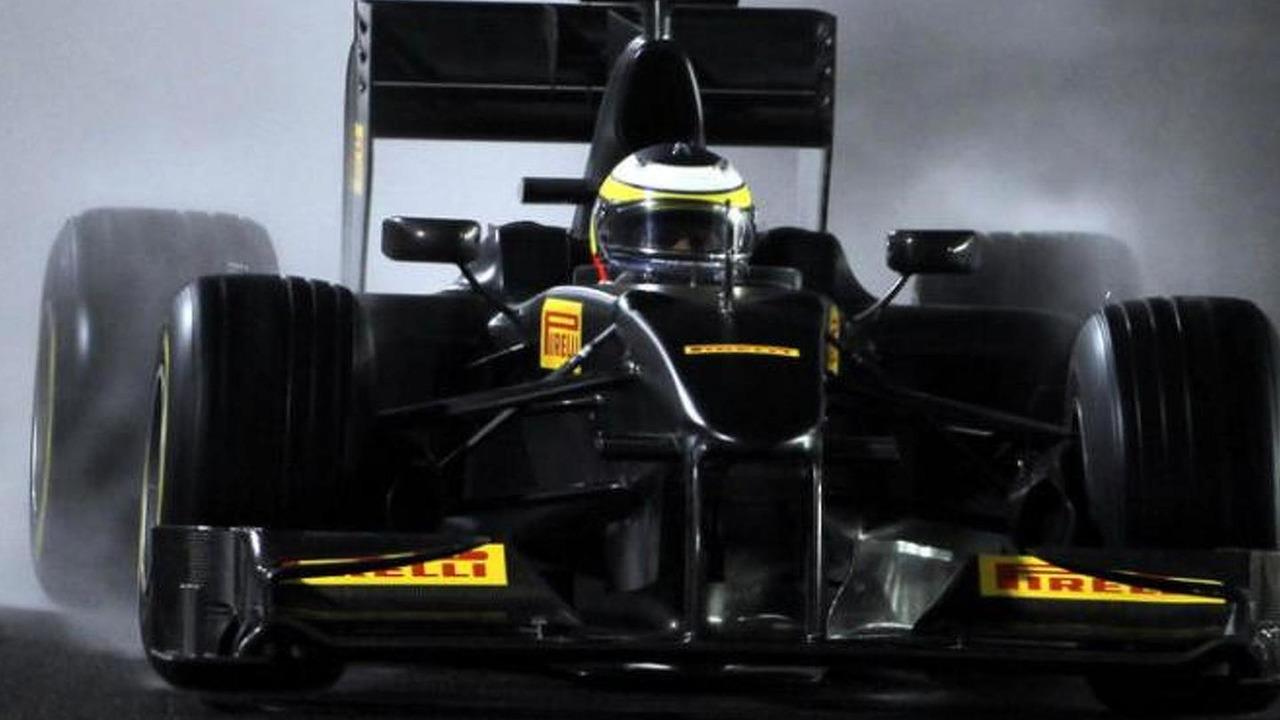 Pirelli Toyota test car on wet track in Abu Dhabi