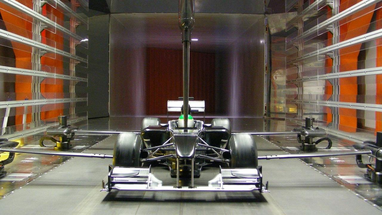 Lotus F1 Car full scale model in wind tunnel