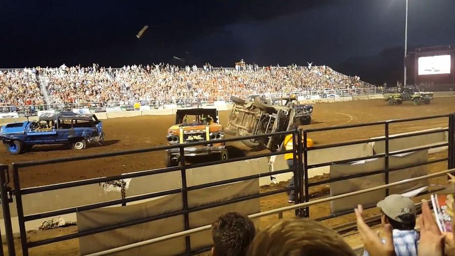 Demolition derby truck driveshaft ejected into crowd, three injured