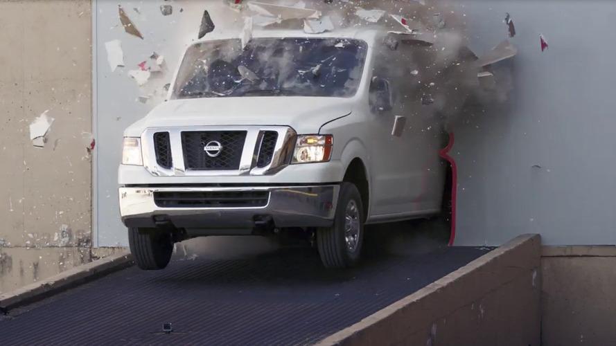 Chris Forsberg drifts a Nissan NV Cargo Van