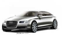 2014 Audi A8 facelift teased via official design sketches