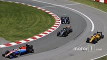 Rio Haryanto, Manor Racing MRT05 leads Sergio Perez, Sahara Force India F1 VJM09; Kevin Magnussen, Renault Sport F1 Team RS16 and Nico Rosberg, Mercedes AMG F1 W07 Hybrid
