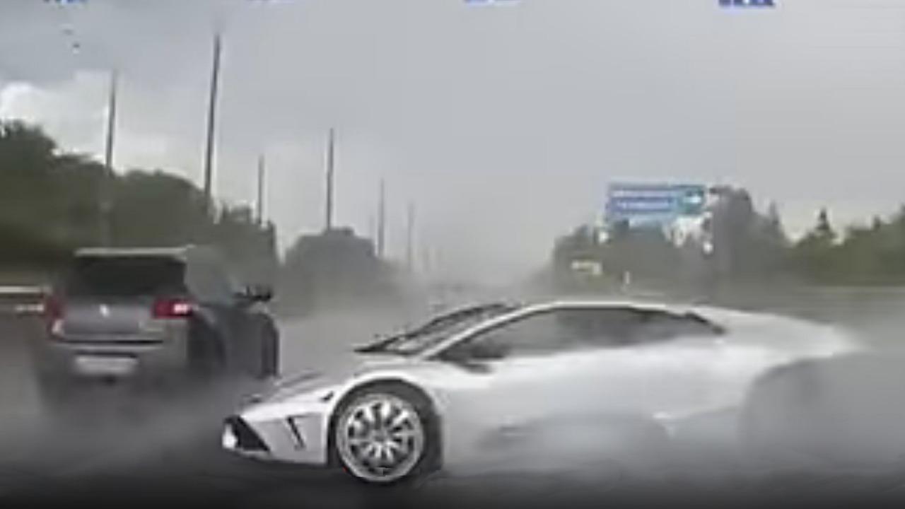 Chrome-wrapped Lamborghini Murcielago wreck