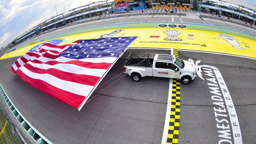 Ford Super Duty sets world record American flag pull