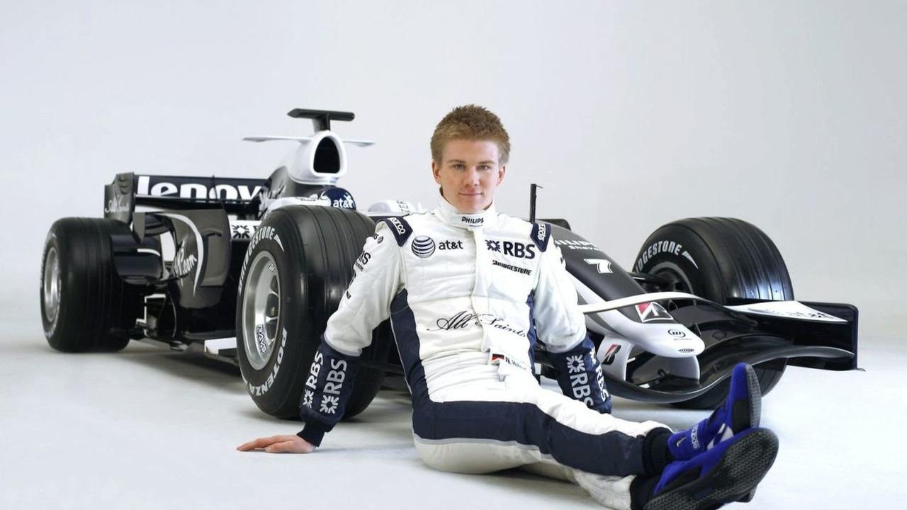 Nico Hulkenberg alongside the FW30, 2008 Williams FW30 Launch Studio Images