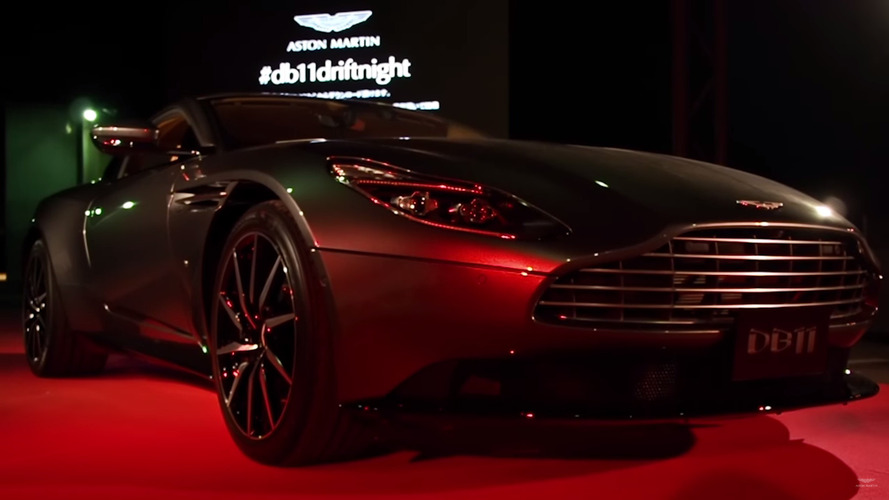 Aston Martin DB11 poses at Osaka launch party, Vanquish drifts