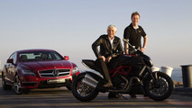 AMG to cooperate with Ducati: Ola Källenius, CEO of Mercedes-AMG GmbH and Gabriele del Torchio, President and CEO of Ducati Motor Holding S.p.A., are presenting the new Mercedes-Benz CLS63 AMG and the new Ducati Diavel