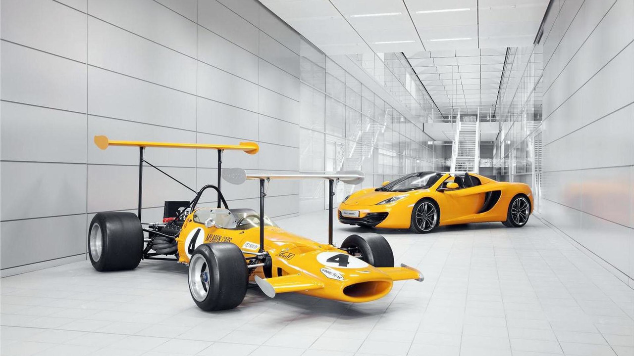 1969 McLaren M7C alongside the 12C Spider 21.1.2013