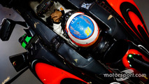 Fernando Alonso, McLaren MP4-31 in his cockpit in the garage