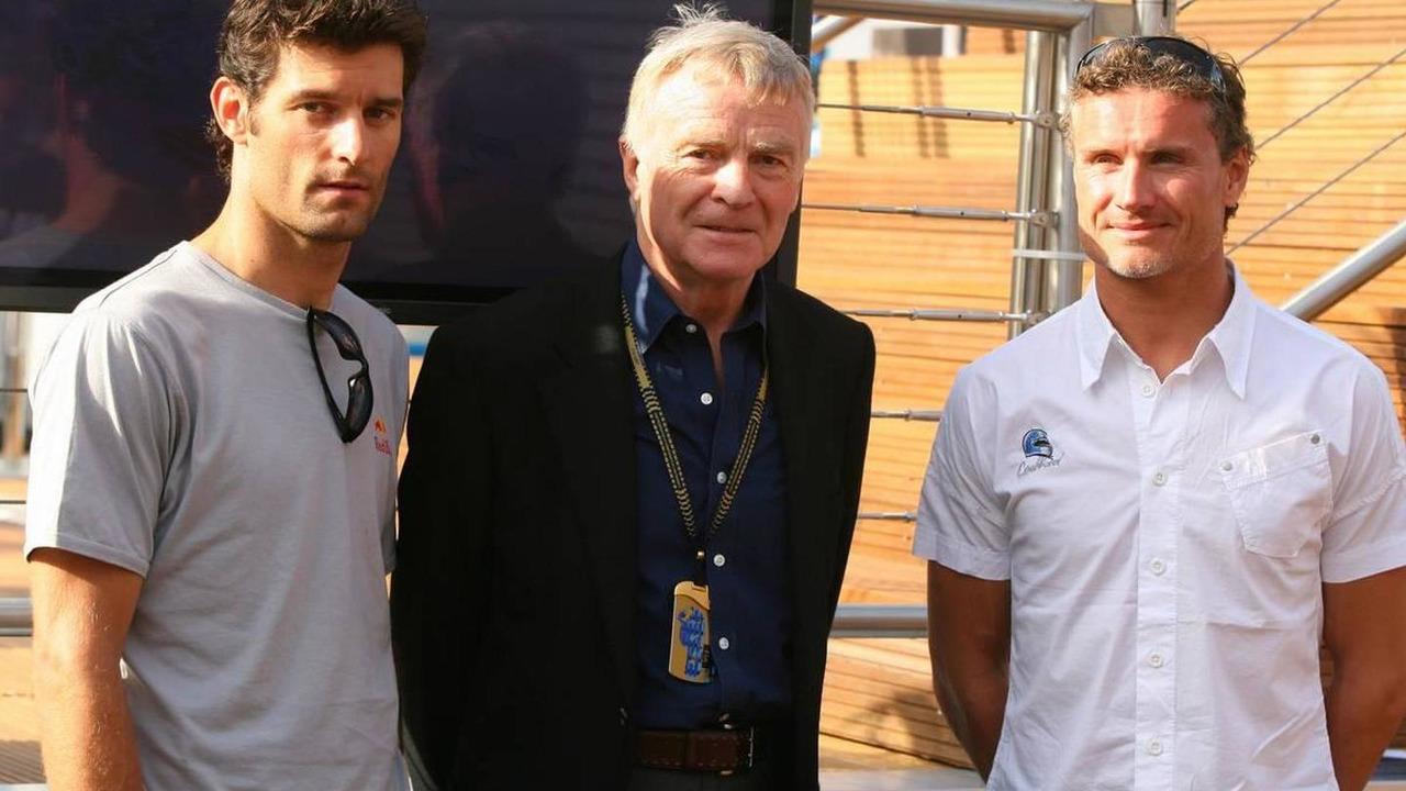 Mark Webber (AUS), Red Bull Racing, Max Mosley (GBR), FIA President and David Coulthard (GBR), Red Bull Racing - Formula 1 World Championship, Rd 5, Monaco Grand Prix, 24.05.2007 Monte Carlo, Monaco