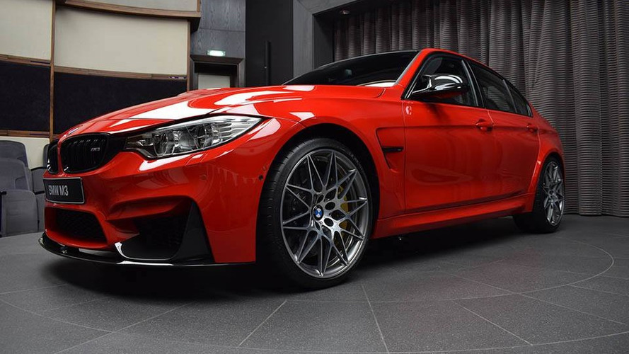 BMW M3 Ferrari Red decked with M Performance goodies