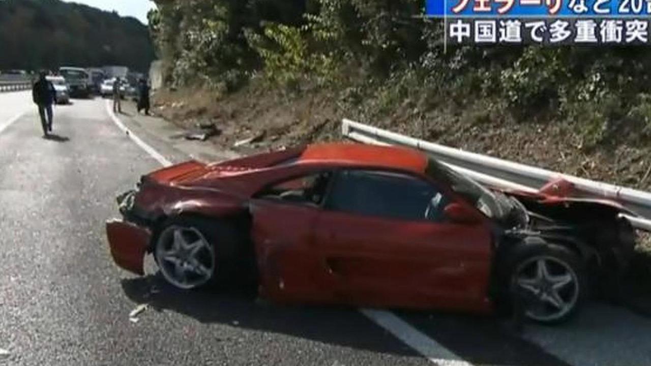 Screenshot of news report from super car pileup in Japan