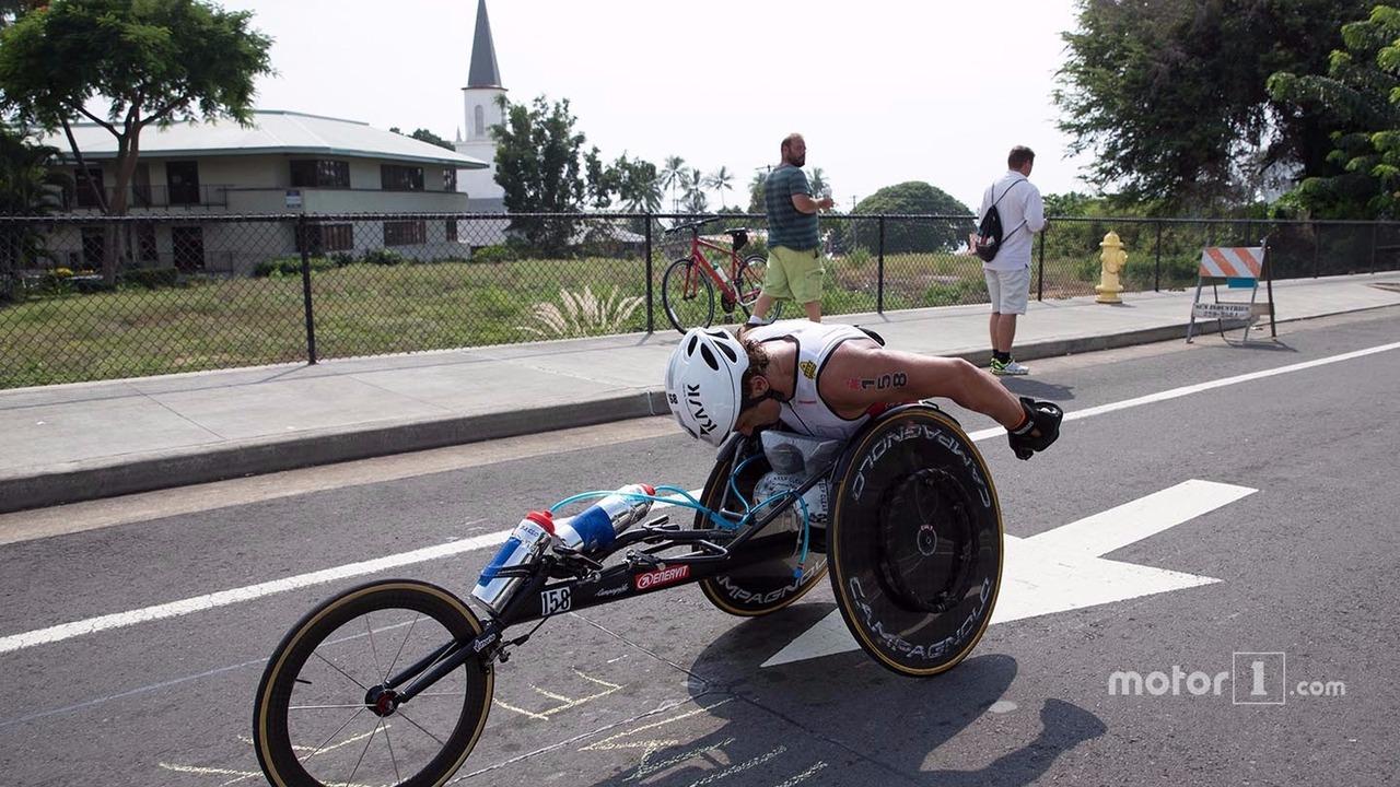 Alex Zanardi competes in the Hawaii Ironman triathlon