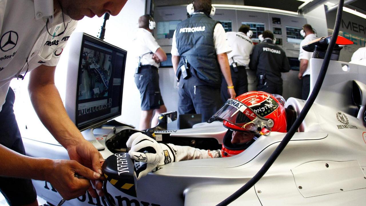 Michael Schumacher (GER), Mercedes GP Petronas, in garage during practice, Canadian Grand Prix, 13.06.2010 Montreal, Canada