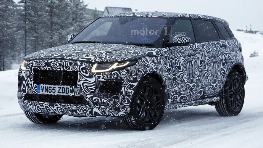 Jaguar E-Pace mule spied wearing a Range Rover Evoque body