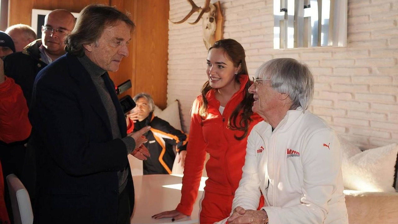 Luca di Montezemolo (ITA), Scuderia Ferrari, FIAT Chairman and President of Ferrari, Tamara Ecclestone (GBR) and Bernie Ecclestone (GBR) - Wrooom Ferrari Ski Meeting, 16.01.2009 Madonna di Campiglio, Italy