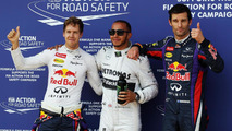Sebastian Vettel (GER) Red Bull Racing, second; Lewis Hamilton (GBR) Mercedes AMG F1, pole position; Mark Webber (AUS) Red Bull Racing, third. 06.07.2013. Formula 1 World Championship, Rd 9, German Grand Prix, Nurburgring, Germany, Qualifying Day.