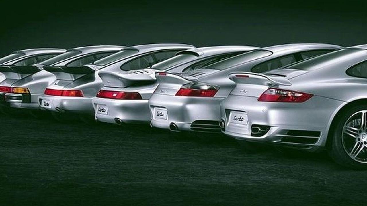 Six generations of Porsche Turbos
