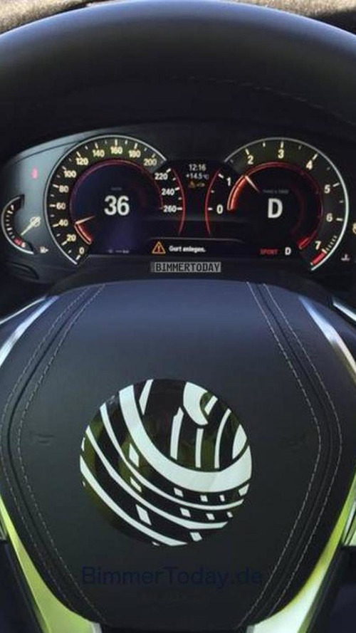 2016 BMW 7-Series digital instrument cluster and steering wheel grabbed on camera