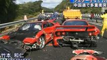 Japan Car Crash wrecks 8 Ferraris, 3 Mercedes & 1 Lambo