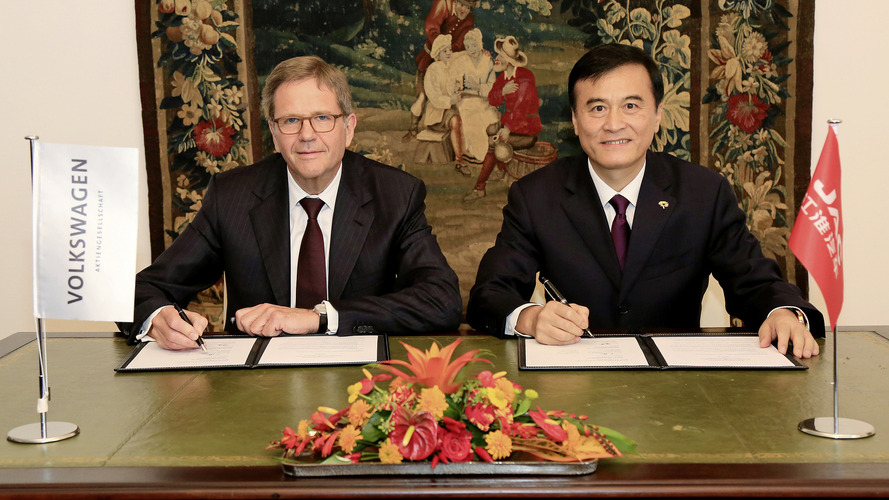 VW and JAC sign intention to make EVs and hybrids in China