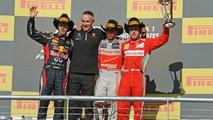 2012 United States Grand Prix podium, Vettel, Whitmarsh, Hamilton, Alonso 18.11.2012