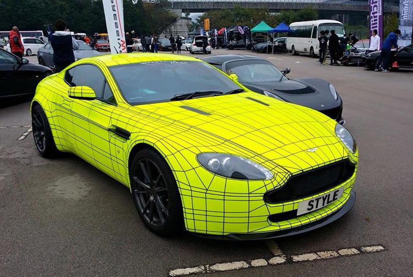 Fluorescent Aston Martin Vantage Wrap Actually Looks Good