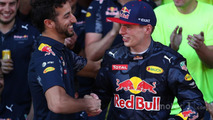 Daniel Ricciardo, Red Bull Racing congratulates Max Verstappen, Red Bull Racing after his first F1 win