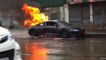 Audi R8 catches fire in Thailand