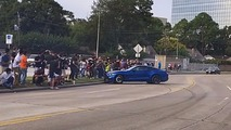 Mustang almost plows into car meet crowd - again