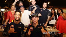 Daniel Ricciardo Red Bull Racing and Max Verstappen Red Bull Racing at Newton Food Centre