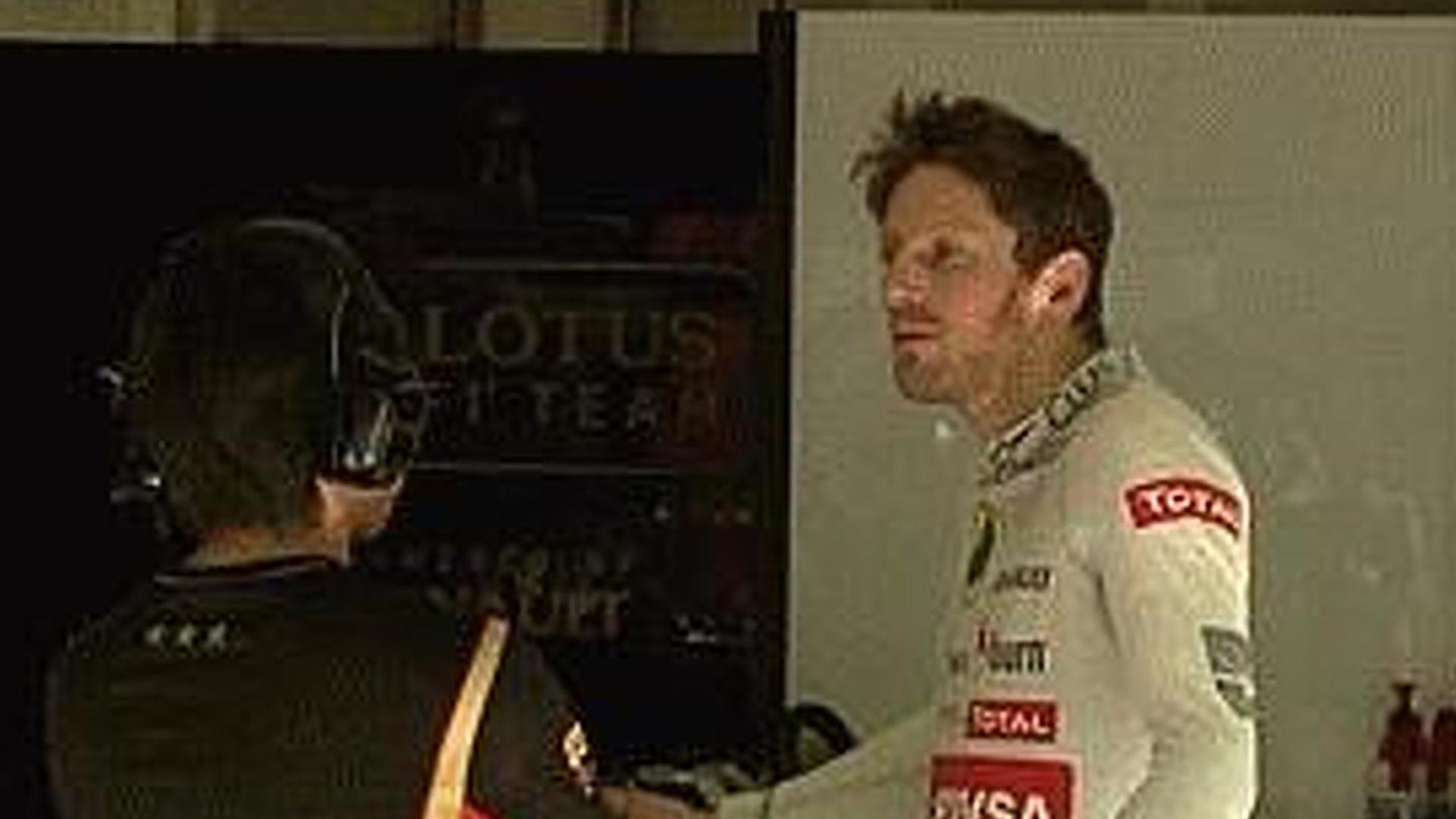 Grosjean lost cool in Lotus garage