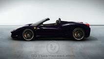 Ferrari 458 Italia Spider artist rendering, Blue Pozzi color