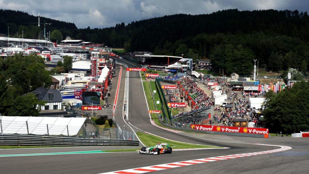 Adrian Sutil (GER) Force India F1 VJM02, Belgian Grand Prix, Spa-Francorchamps, Belgium, 29.08.2009