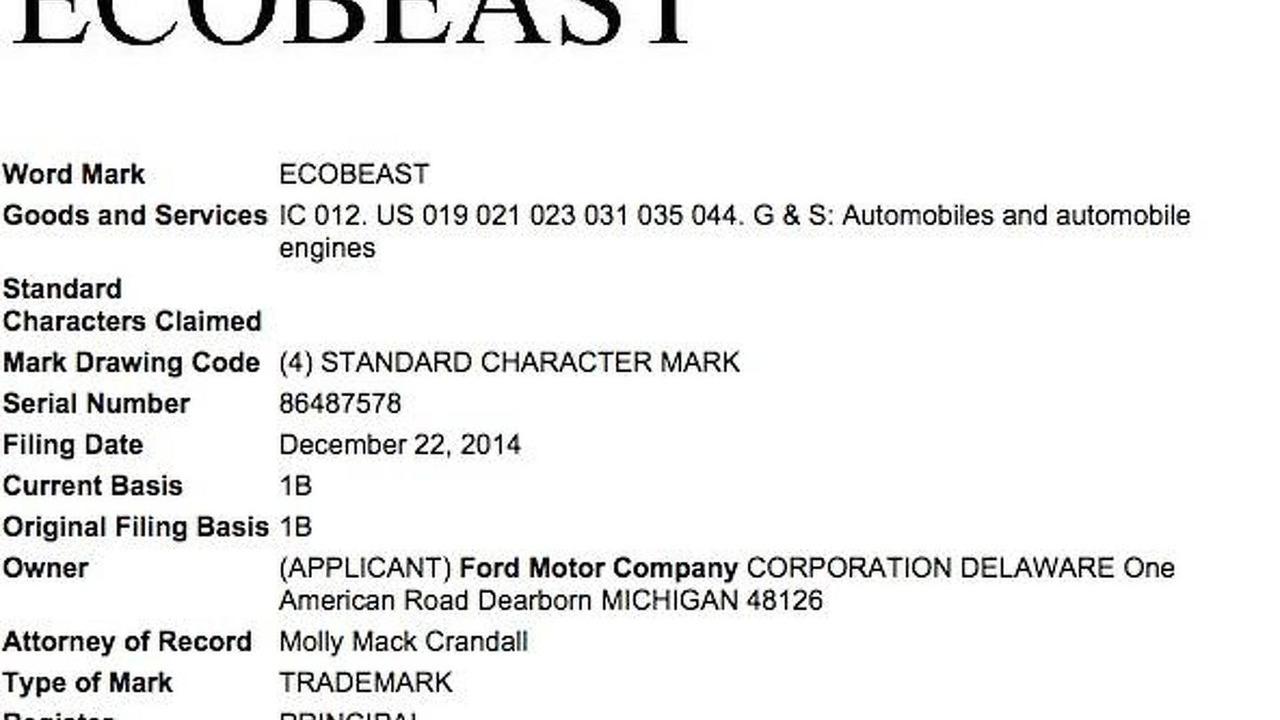 Ford EcoBeast trademark application