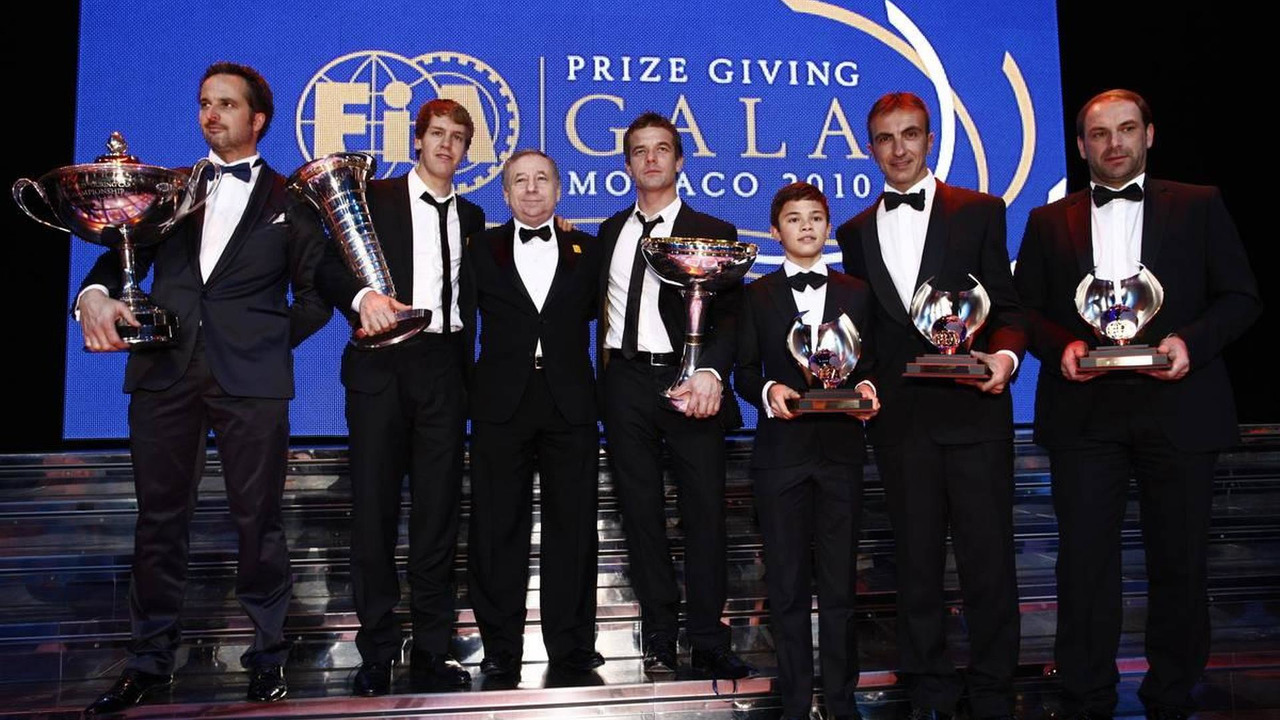 FIA President Jean Todt with the 2010 FIA World Champions - 2010 FIA Gala Prize-Giving Ceremony, 10.12.2010 Monte-Carlo, Monaco