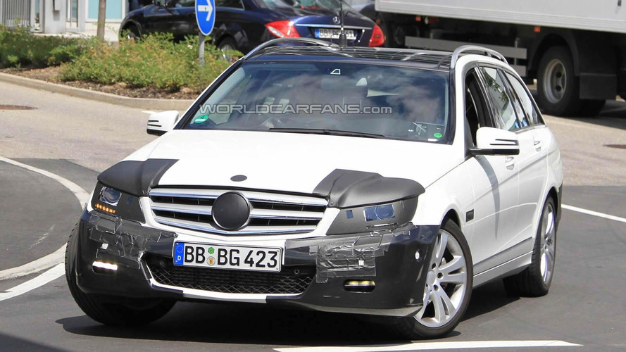 Facelifted Mercedes C-Class Estate spied
