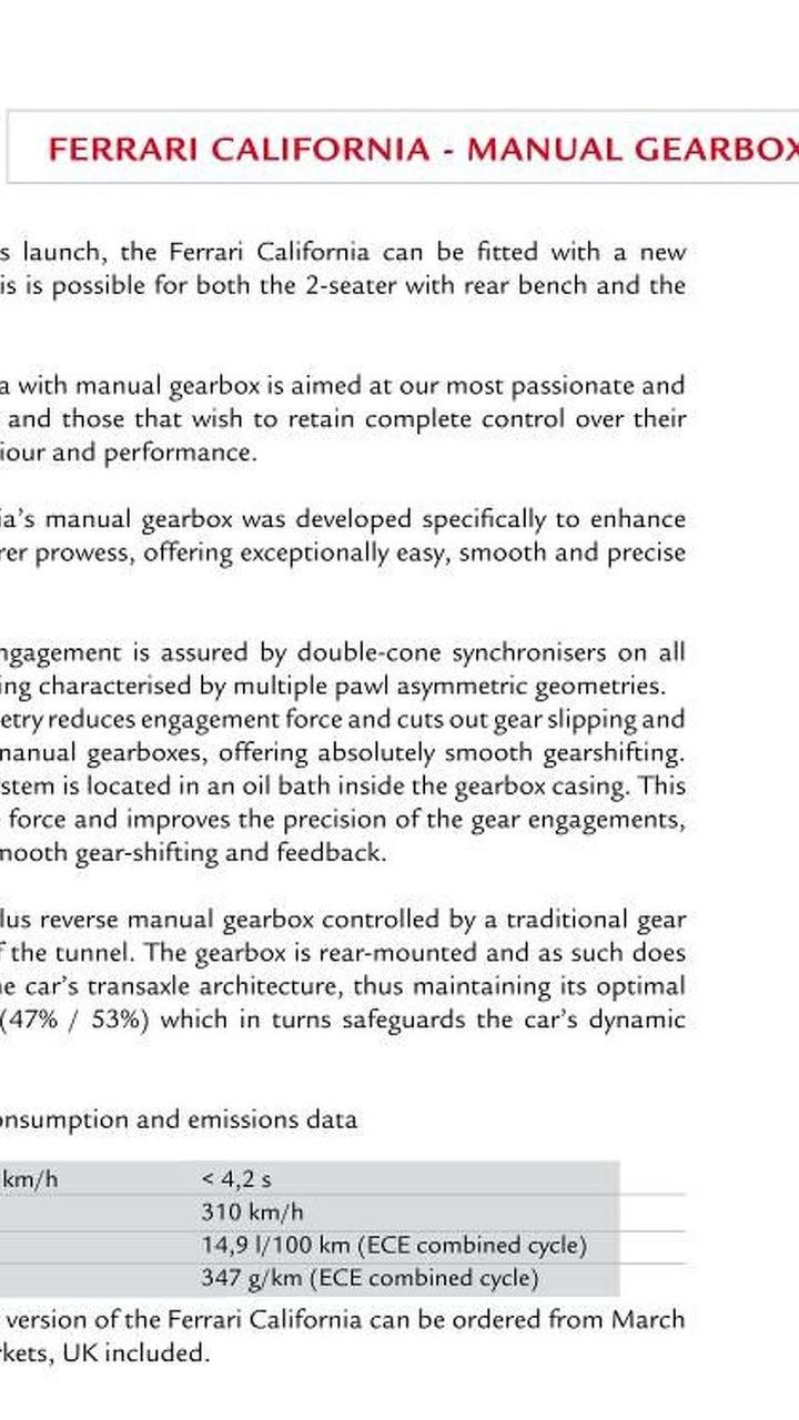 Ferrari California manual transmission leaked document 23.03.2010