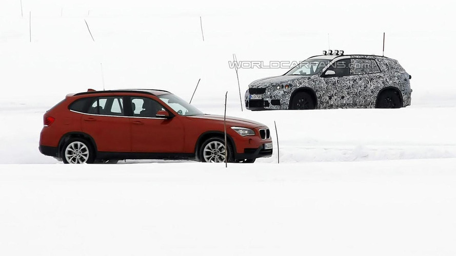 2015 BMW X1 spied testing alongside the current model