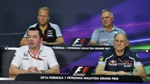 The FIA Press Conference (From back row (L to R))- Robert Fernley, Sahara Force India F1 Team Deputy Team Principal; Dave Ryan, Manor Racing Racing Director; Eric Boullier, McLaren Racing Director; Franz Tost, Scuderia Toro Rosso T