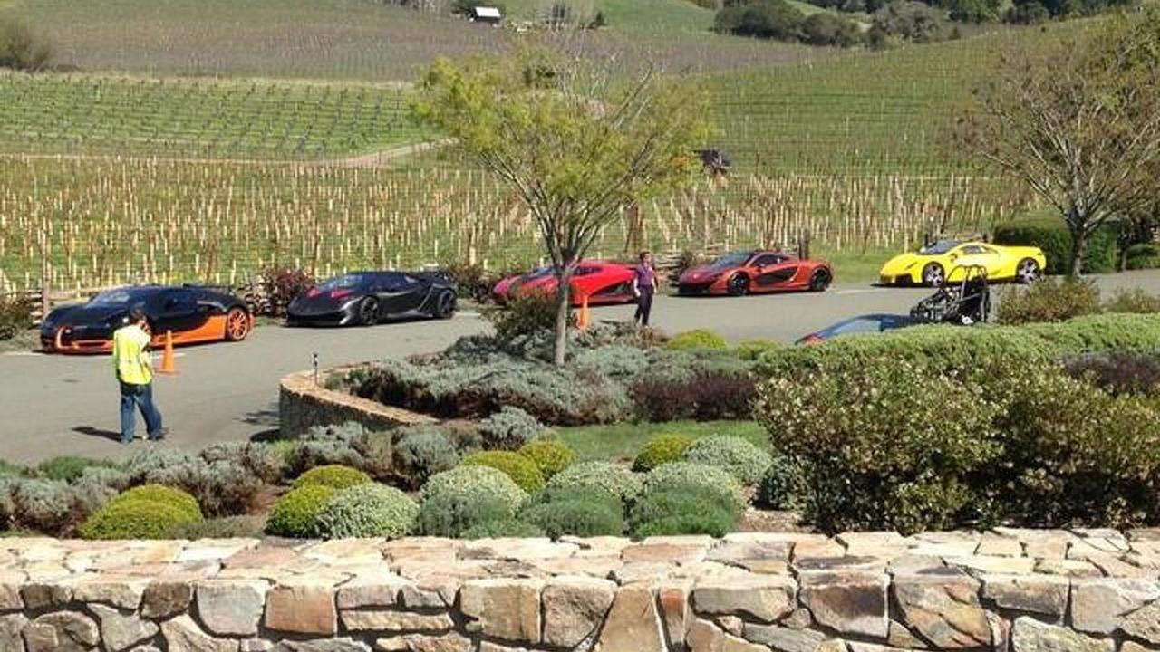 Bugatti Veyron Super Sport World Record Edition, Lamborghini Sesto Elemento, Koenigsegg Agera R, McLaren P1 and GTA Spano during Need for Speed movie filming