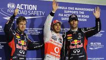 Abu Dhabi Grand Prix qualifying podium, Lewis Hamilton (C), Mark Webber (R), Sebastian Vettel (L), 03.11.2012
