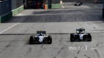 Valtteri Bottas, Williams FW38, battles with Lewis Hamilton, Mercedes F1 W07 Hybrid