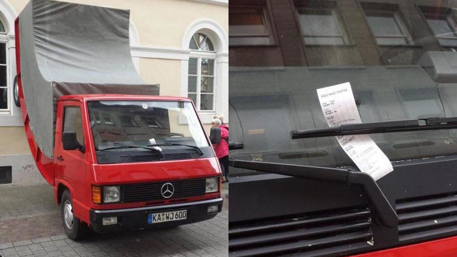 The city of Karlsruhe issues a parking ticket to a car sculpture