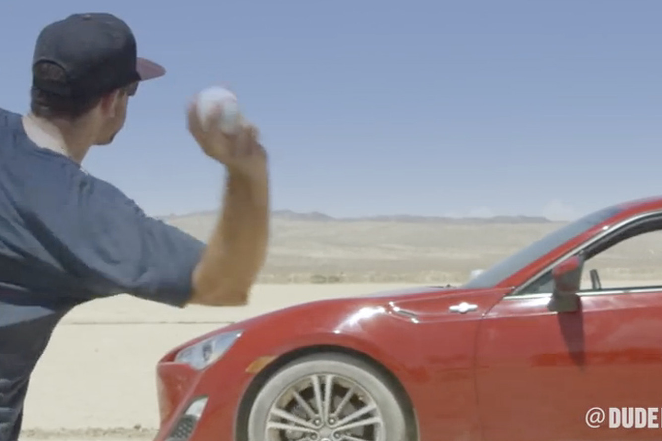 Scion FR-S Drifts for Incredible Baseball Trick Shots [Video]