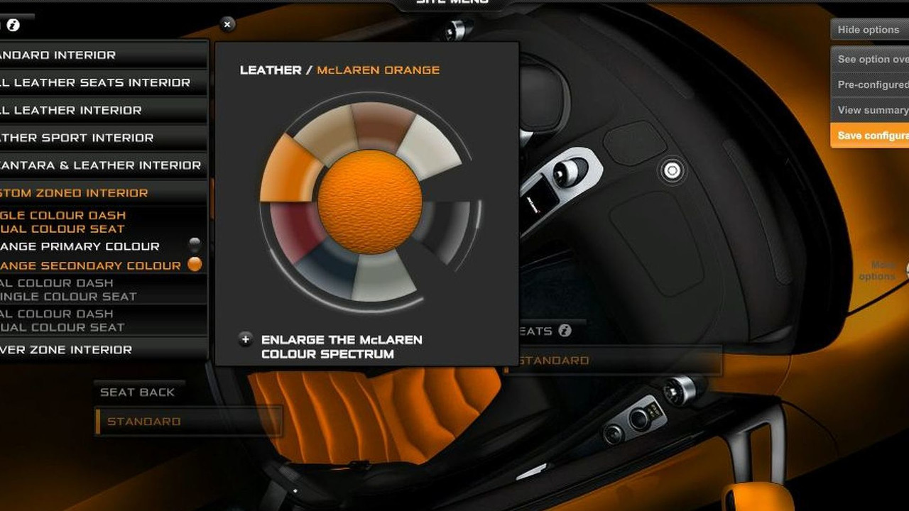 McLaren MP4-12C Configurator