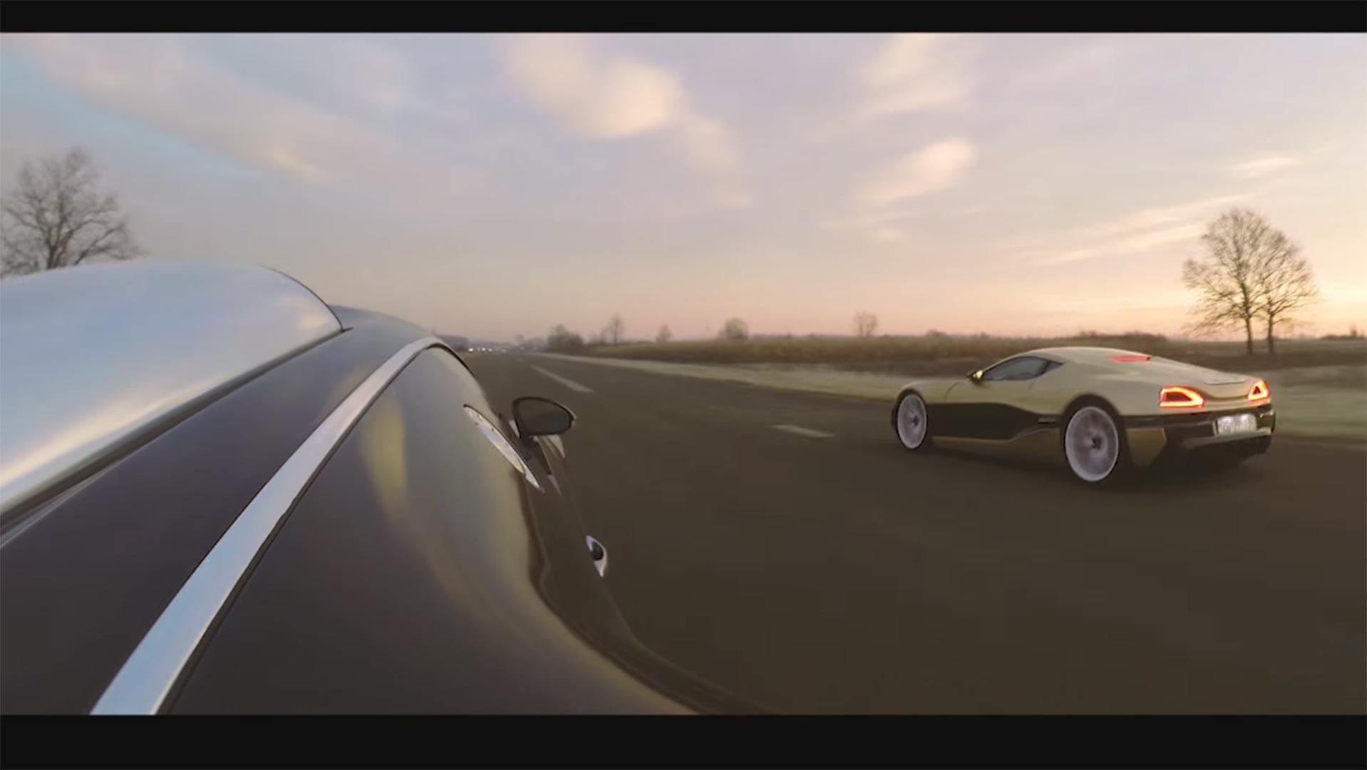 rimac concept one drag races bugatti veyron to a close finish. Black Bedroom Furniture Sets. Home Design Ideas
